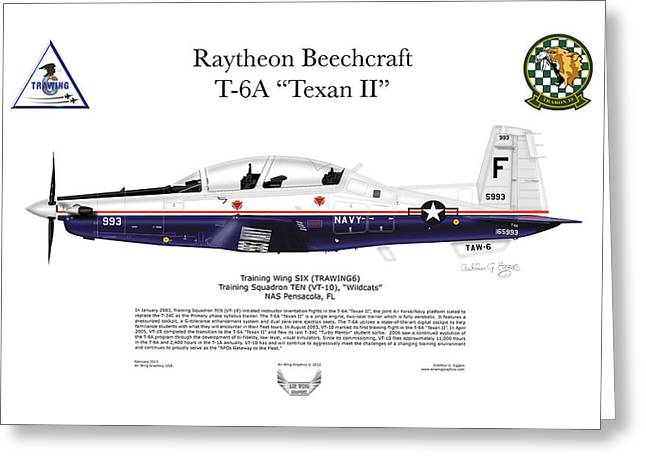 Squadron Graphics Greeting Cards - T-6A Texan II VT-10 Greeting Card by Arthur Eggers