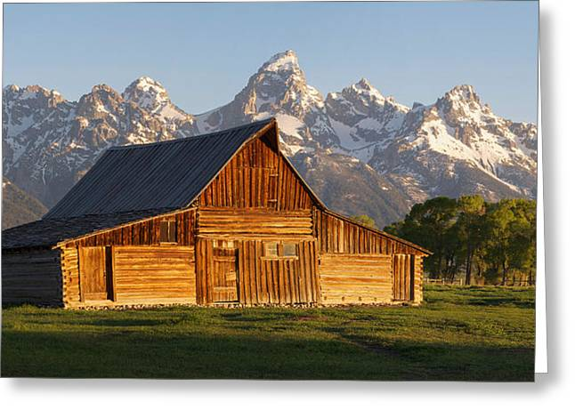 Barn In Woods Photographs Greeting Cards - T. A. Moulton Barn and the Tetons Greeting Card by Aaron Spong