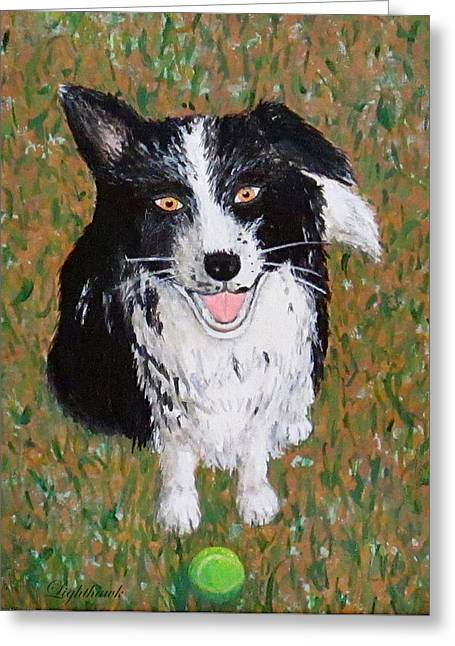 Dog With Tennis Ball Greeting Cards - T and Her Tennis Ball Greeting Card by Eileen Lighthawk