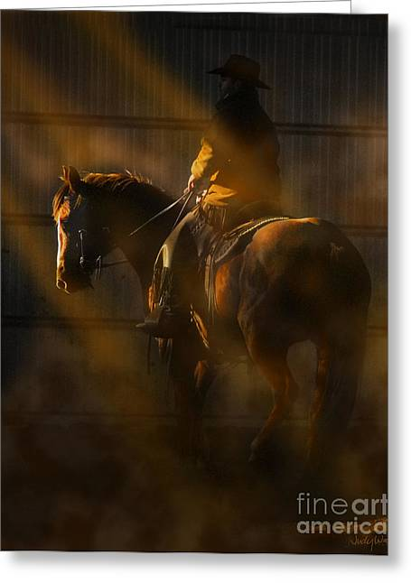 Quarter Horse Digital Art Greeting Cards - T Hunter  Greeting Card by Judy Wood