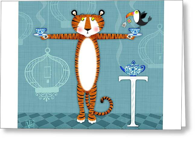 Illustrated Letter Greeting Cards - T is for Tiger Greeting Card by Valerie   Drake Lesiak