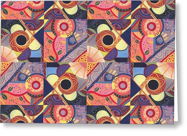 Pinks And Purple Petals Greeting Cards - T J O D Tile Variations 18 Greeting Card by Helena Tiainen