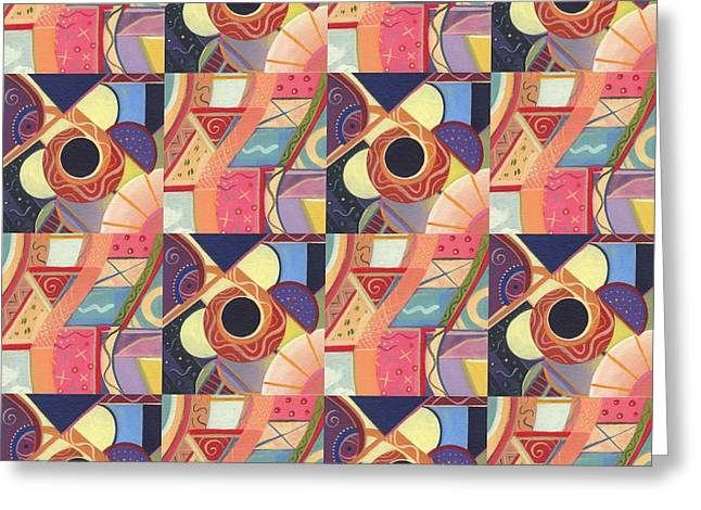 Strong Will Greeting Cards - T J O D Tile Variations 19 Greeting Card by Helena Tiainen