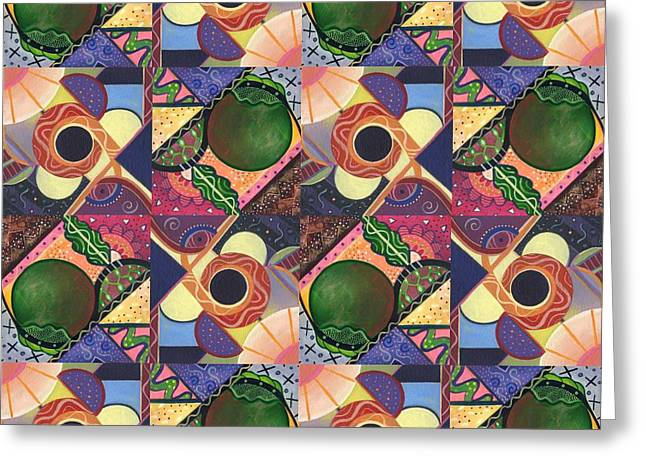 Mango Mixed Media Greeting Cards - T J O D Tile Variations 6 Greeting Card by Helena Tiainen