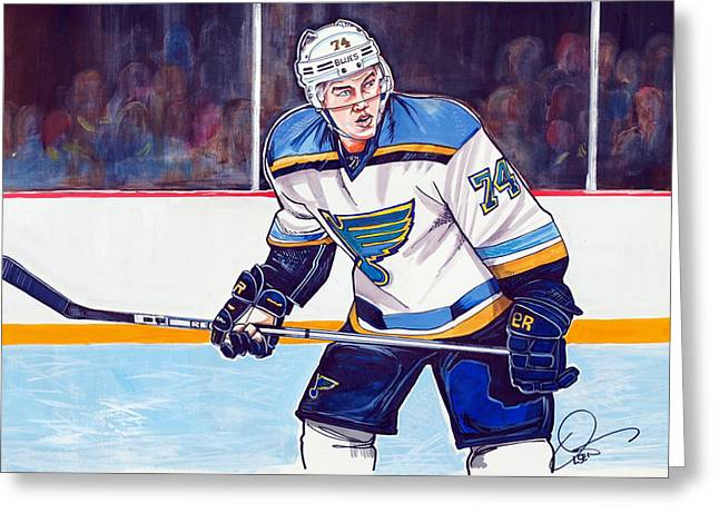 Nhl Hockey Drawings Greeting Cards - T. J. Oshie Greeting Card by Dave Olsen