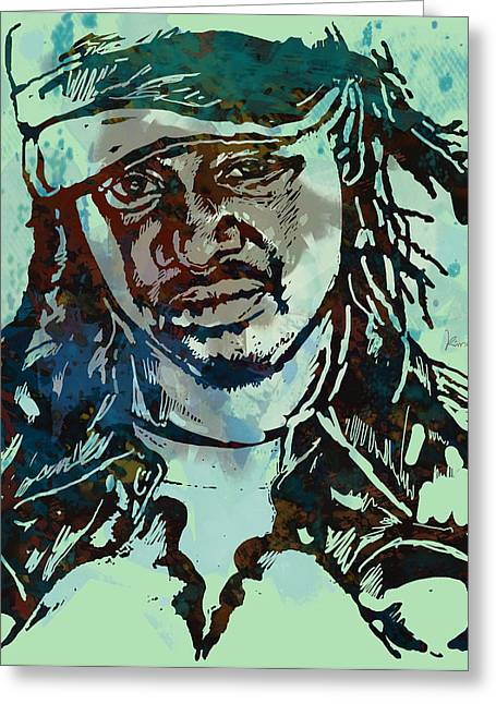 Singer Songwriter Greeting Cards - T-Pain Faheem Rasheed Najm Stylised Etching Pop Art Poster Greeting Card by Kim Wang
