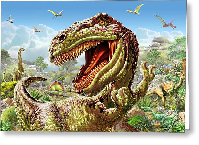 T-rex Greeting Cards - T-Rex and Dinosaurs Greeting Card by Adrian Chesterman