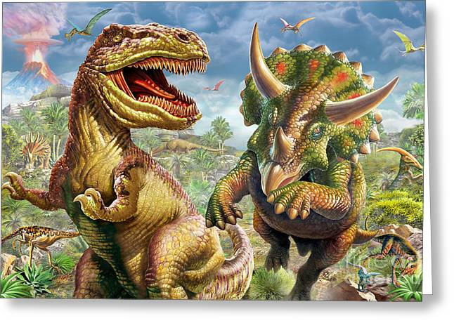 T-rex Greeting Cards - T-Rex and Triceratops Greeting Card by Adrian Chesterman