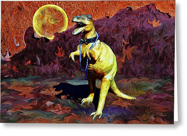 Van Gogh Style Greeting Cards - T-rex Escapes Greeting Card by Sandra Selle Rodriguez