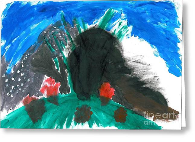Dinosaurs Pastels Greeting Cards - T-Rex Volcano Greeting Card by Jacques Retief