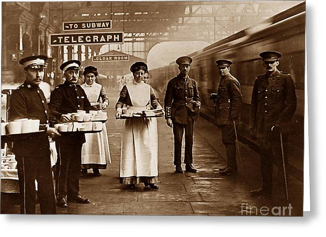 Brigade Greeting Cards - The Red Cross and St. Johns Ambulance Brigade during WW1 England Greeting Card by The Keasbury-Gordon Photograph Archive