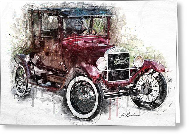 Ford Model T Car Greeting Cards - 1926 Ford Model T Greeting Card by Gary Bodnar
