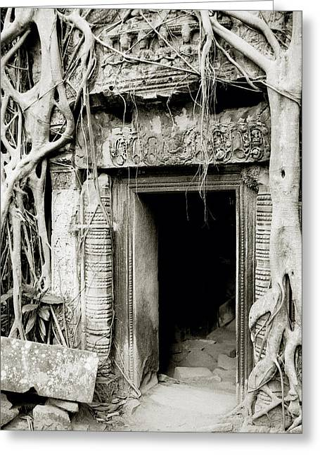 Temple Of Ta Prohm Greeting Cards - Ta Prohm Doorway Greeting Card by Shaun Higson