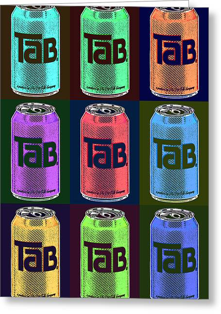 Silk Screen Greeting Cards - Tab Ode To Andy Warhol Black Greeting Card by Tony Rubino