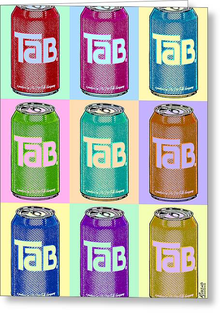 Silk Screen Greeting Cards - Tab Ode To Andy Warhol Repeat Greeting Card by Tony Rubino