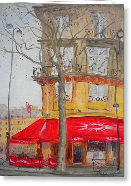 Tobacconist Greeting Cards - Tabac, 2010 Oil On Canvas Greeting Card by Antonia Myatt