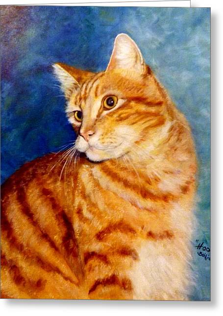 Bobbies Greeting Cards - Tabby Greeting Card by Bobbie Chalekian