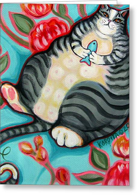Cushion Paintings Greeting Cards - Tabby Cat on a Cushion Greeting Card by Rebecca Korpita