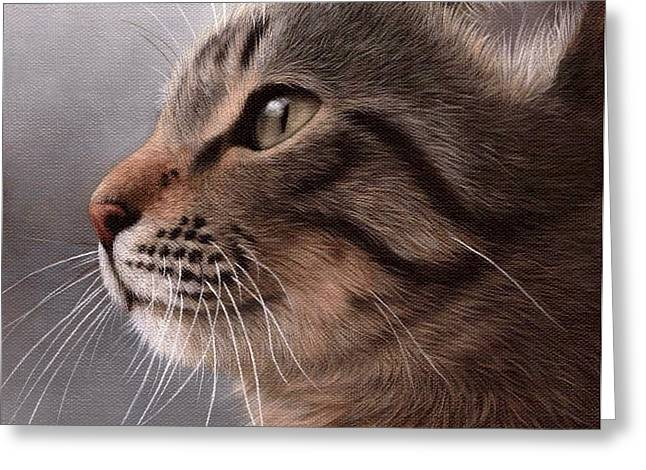Domestic Pets Greeting Cards - Tabby Cat Painting Greeting Card by Rachel Stribbling