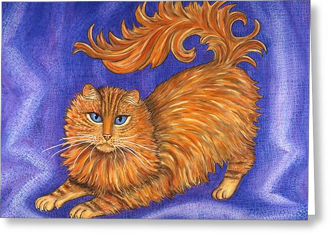 Kitten Greeting Cards - Tabby Cat Playing Greeting Card by Linda Mears