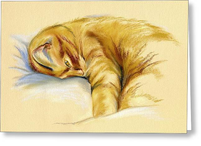 Relaxed Pastels Greeting Cards - Tabby Cat Relaxed Pose Greeting Card by MM Anderson