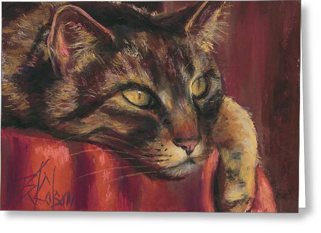 Close Up Pastels Greeting Cards - Tabby Nap Greeting Card by Billie Colson