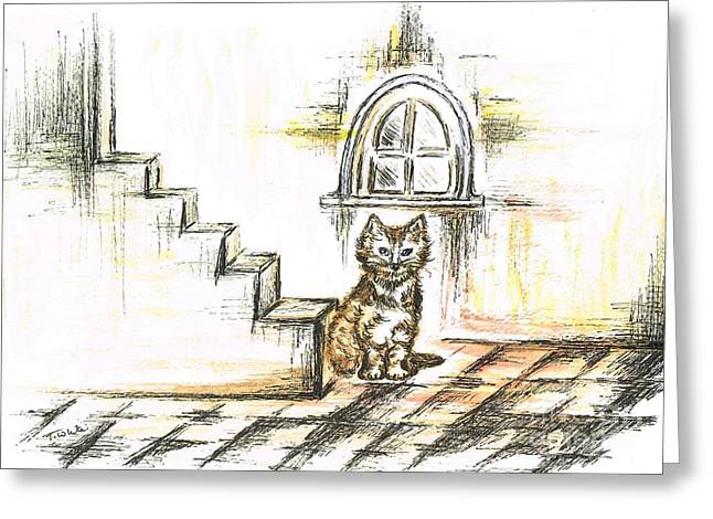 Staircase Mixed Media Greeting Cards - Tabby Waiting Greeting Card by Teresa White