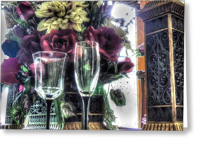 Wine Holder Photographs Greeting Cards - Table Arrangement Greeting Card by Cathy Jourdan