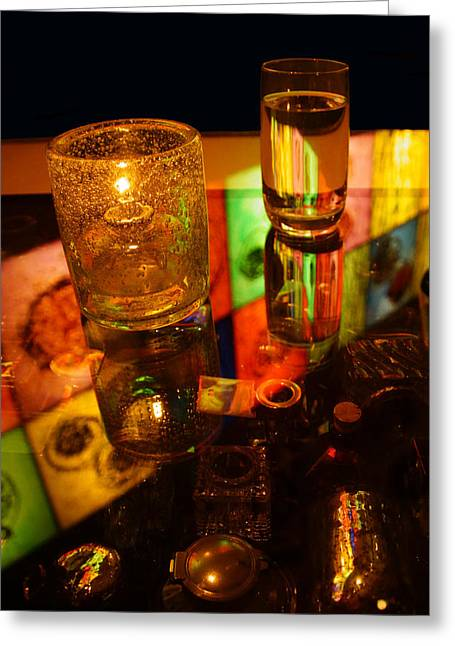 Glass Table Reflection Digital Art Greeting Cards - Table Art Greeting Card by Gary Horsfall