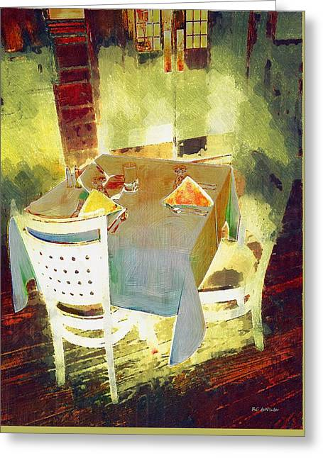 Table Greeting Cards - Table at the Fauve Cafe Greeting Card by RC deWinter