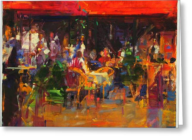 Al Fresco Greeting Cards - Table At Villefranche Oil On Canvas Greeting Card by Peter Graham