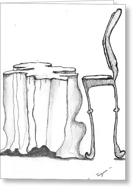 Table And Chairs Drawings Greeting Cards - Table Chair Surrealiste Greeting Card by Dan Twyman
