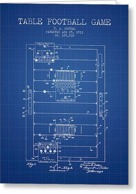 Football Game Greeting Cards - Table Football Game Patent from 1933 - Blueprint Greeting Card by Aged Pixel