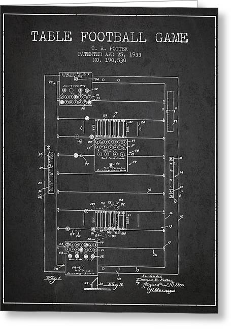 Football Player Greeting Cards - Table Football Game Patent from 1933 - Charcoal Greeting Card by Aged Pixel