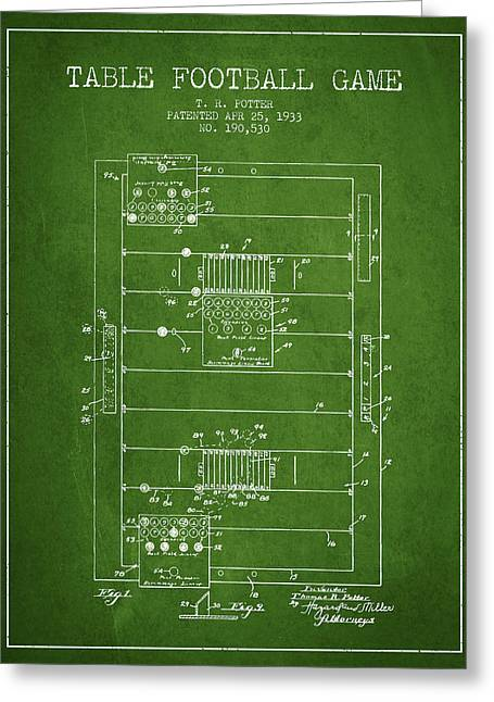 Football Player Greeting Cards - Table Football Game Patent from 1933 - Green Greeting Card by Aged Pixel