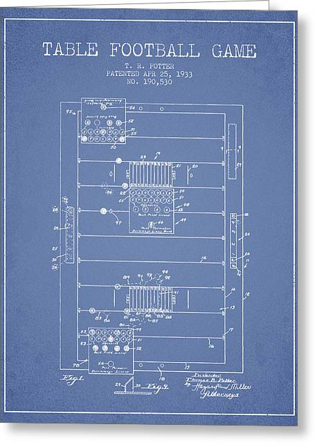 Football Player Greeting Cards - Table Football Game Patent from 1933 - Light Blue Greeting Card by Aged Pixel