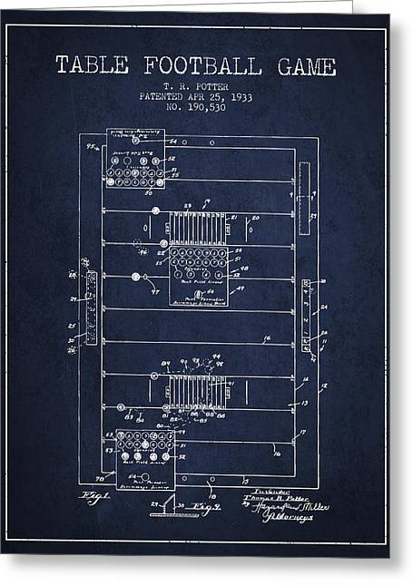 Sports Digital Art Greeting Cards - Table Football Game Patent from 1933 - Navy Blue Greeting Card by Aged Pixel