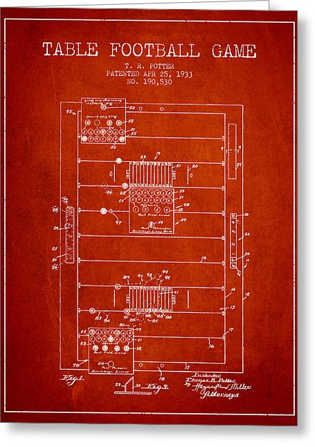 Football Player Greeting Cards - Table Football Game Patent from 1933 - Red Greeting Card by Aged Pixel