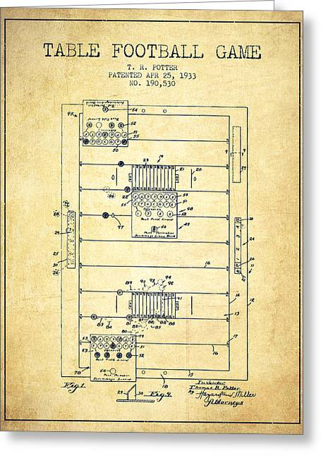 Sports Drawings Greeting Cards - Table Football Game Patent from 1933 - vintage Greeting Card by Aged Pixel