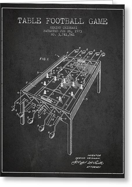 Sports Digital Art Greeting Cards - Table Football Game Patent from 1973 - Charcoal Greeting Card by Aged Pixel