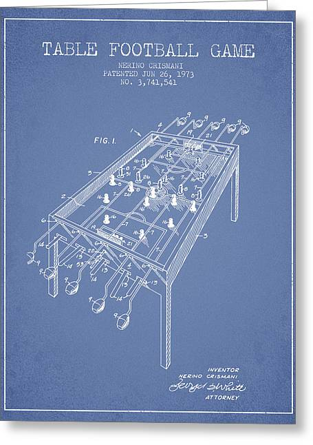 Football Player Greeting Cards - Table Football Game Patent from 1973 - Light Blue Greeting Card by Aged Pixel