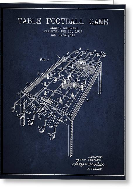Football Player Greeting Cards - Table Football Game Patent from 1973 - Navy Blue Greeting Card by Aged Pixel