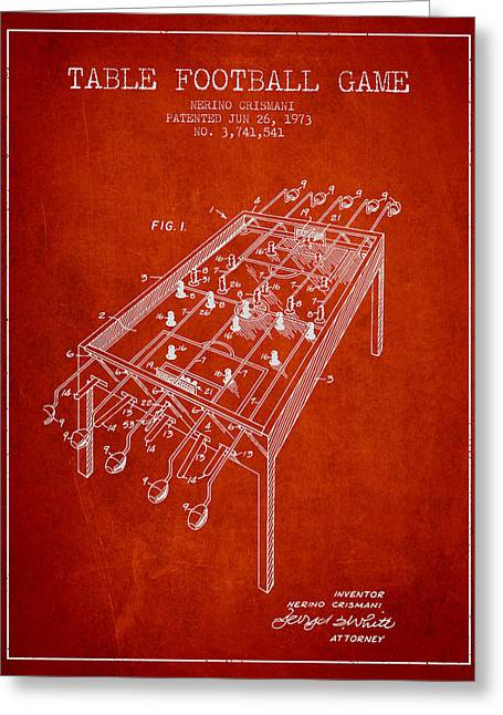 Sports Digital Art Greeting Cards - Table Football Game Patent from 1973 - Red Greeting Card by Aged Pixel