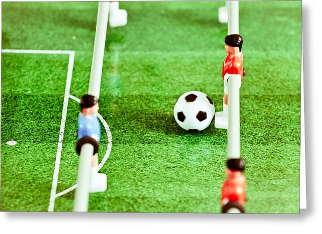 Fussball Greeting Cards - Table football Greeting Card by Tom Gowanlock