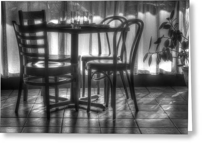 Unoccupied Greeting Cards - Table for Four Greeting Card by Nikolyn McDonald