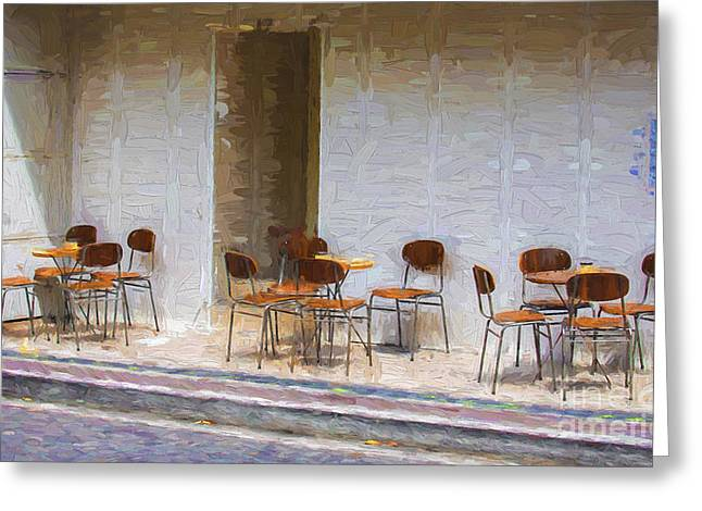 Empty Chairs Photographs Greeting Cards - Table for four Greeting Card by Sheila Smart