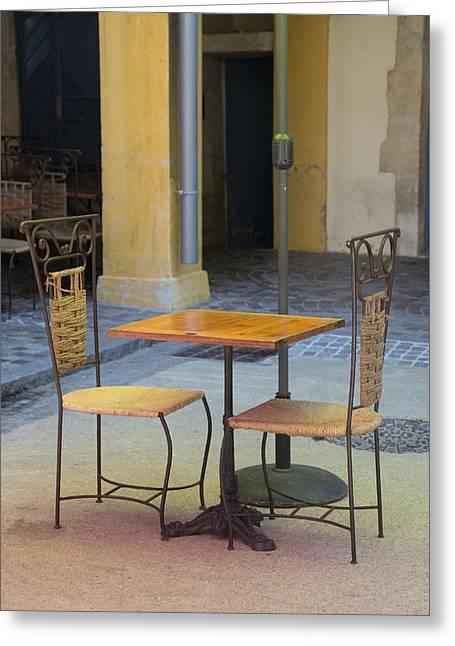 Table For Two Greeting Card by Anita Miller