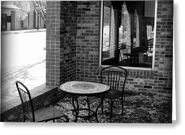 Table for Two bw Greeting Card by Elizabeth Sullivan