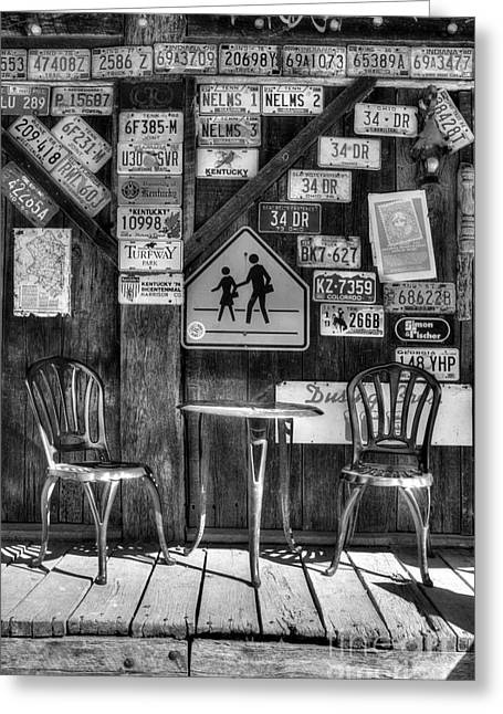 Rabbit Hash Greeting Cards - Table For Two BW Greeting Card by Mel Steinhauer