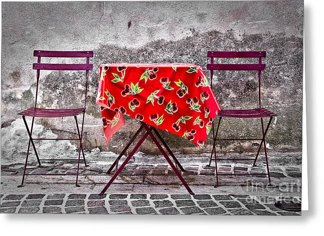 South Of France Greeting Cards - Table for two Greeting Card by Delphimages Photo Creations